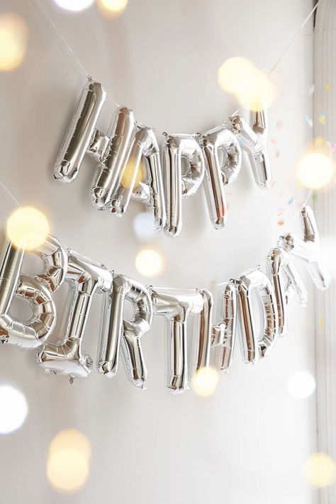 Ensemble de ballons festifs métalliques Happy Birthday