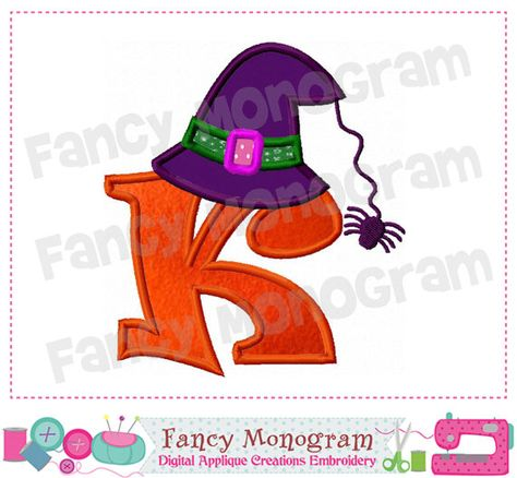 Witch Hat Monogram K Appliquehalloween Letter K Appliquekbirthday