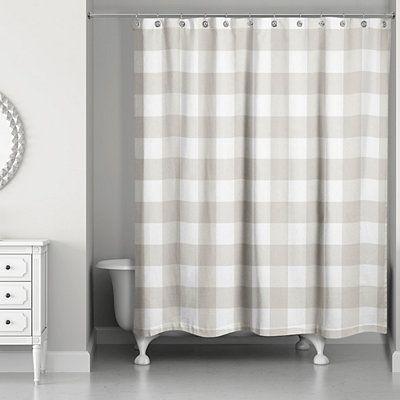 Tan Buffalo Check Shower Curtain Buffalo Check Shower Curtain