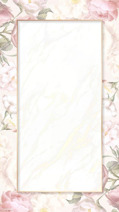 Hand drawn floral rectangle gold frame card mockup vector | premium image by rawpixel.com / manotang