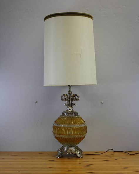Vintage Orange Pressed Glass Lighted Base Table Lamp W Shade E8529