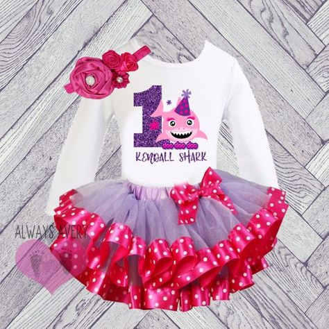 f7e5cc8d6 Cute Personalized Hot Pink and Purple Shark First Birthday Soft Tutu ...