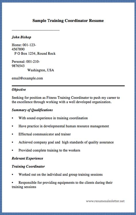 Sample Training Coordinator Resume John Bishop Home 001 123   Millwright  Resume Example  Training Coordinator Resume