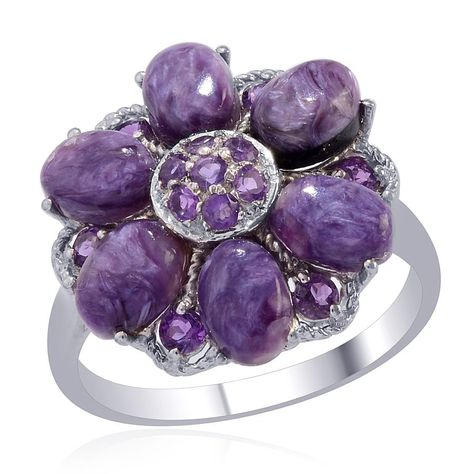 Liquidation Channel | Siberian Charoite and Amethyst Ring in Platinum Overlay Sterling Silver (Nickel Free)