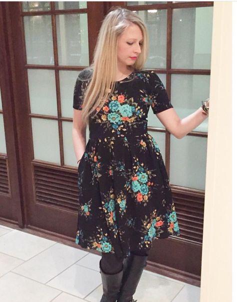 Lularoe Amelia dress back with teal floral