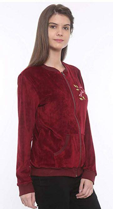Mystere Paris Butterfly Velour Jacket Sleepwear Nightwear Loungewear Casual Women Ladies Maroon A257c Maroon Casual Women Velour Jackets Lounge Wear