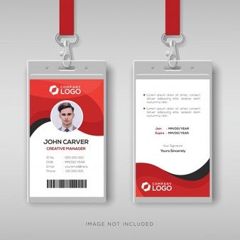 Professional Identity Card Template With Red Details En 2020