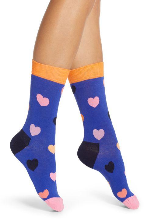 ba1b67c9c Women's Happy Socks Heart Crew Socks, Size 9/11 - Blue