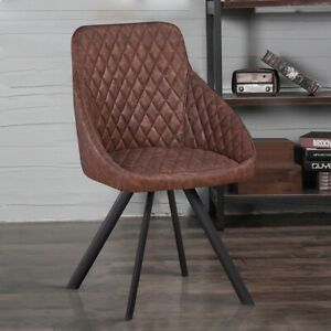 2 Retro Faux Leather Dining Chairs Brown Luxury Armchairs Office Restaurant Uk 68090 With Images Brown Dining Chairs Dining Chairs Uk Faux Leather Dining Chairs