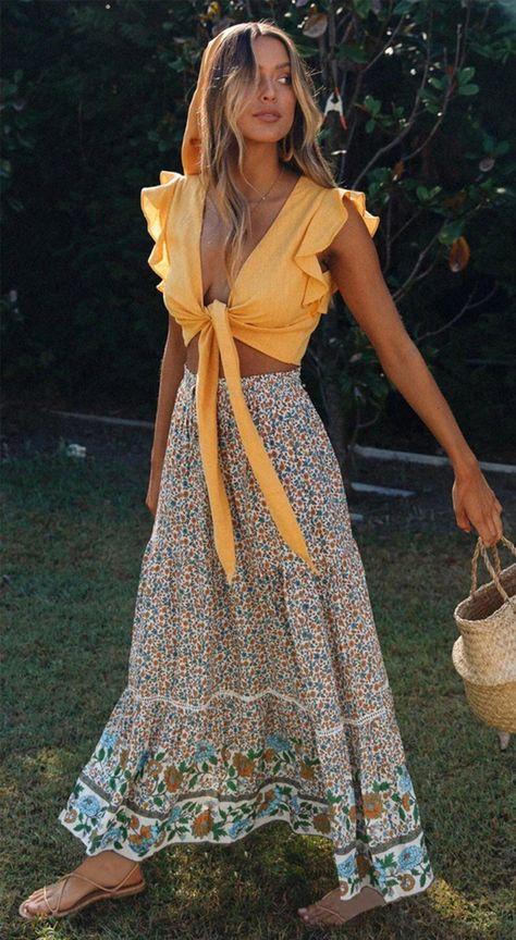 Gypsy Soul High Waist Floral Summer Skirt