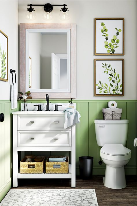 Shop botanical prints, bright accent colors and updated fixtures to breathe life into your bathroom décor.