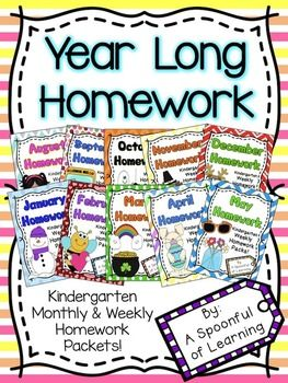 This HUGE Homework Bundle includes ALL of my monthly Kindergarten homework packets together! That is 10 months of homework from August-May with 39 Weekly Homework Packets that you can use your entire school year! This bundle has more than 30% SAVINGS!This homework bundle is just what you need to send home effective homework that includes detailed instructions for at home use and involves little to no prep for you!