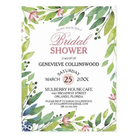 Pretty Spring Botanical Blush Pink Bridal Shower #bridalshower #blue #bridetribe #pretty #blushpink #springbridalshower #summerbridalshower #romantic #greenery #bridalshowerinvitationpostcard