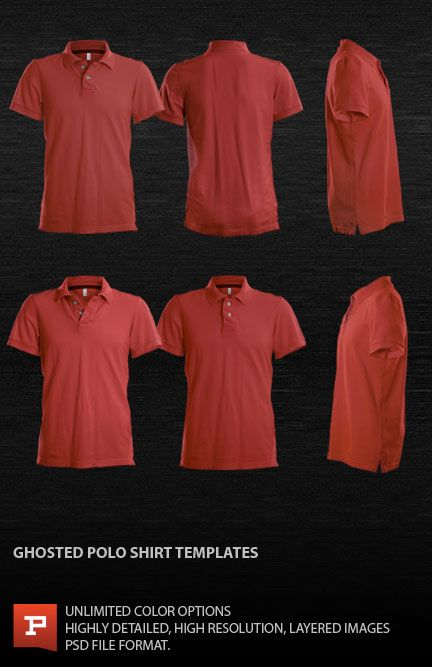 Ghosted Polo Shirt Template Psd Polo Shirt Design Shirt Template Polo Shirt