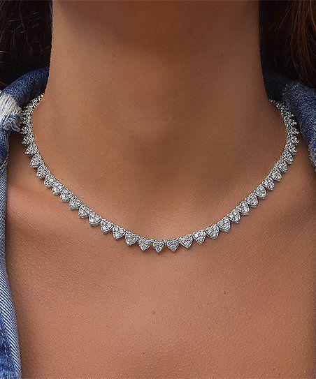 Golden Moon Silvertone Cluster Heart Tennis Necklace With Swarovski Crystals Zulily Tennis Necklace Xoxo Necklace Diamond Tennis Necklace
