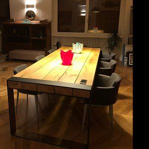 Handmade Dining Table Contemporary Minimalistic Design Steel And
