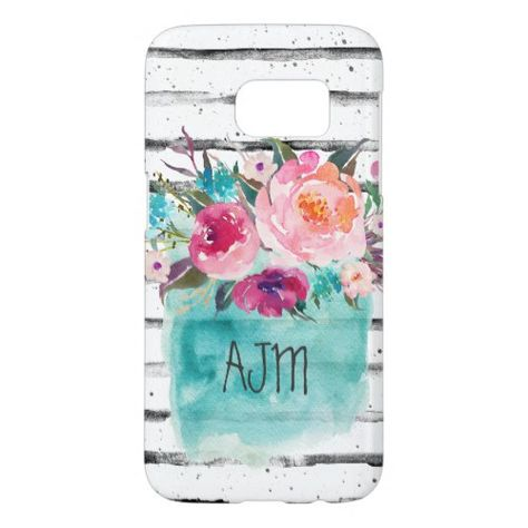 Floral Turquoise Pink Monogram Watercolor Bouquet Samsung Galaxy S7 Case