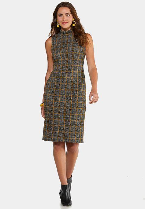 Plus Size Plaid Mock Neck Dress