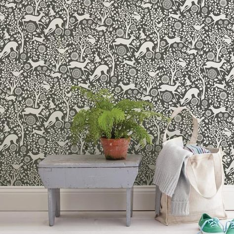 Nuwallpaper 30 75 Sq Ft Grey Vinyl Animals Self Adhesive Peel And Stick Wallpaper Lowes Com In 2020 Wallpaper Roll Peel And Stick Wallpaper Nuwallpaper
