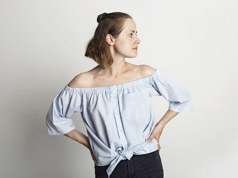 DIY-Anleitung: Herrenhemd in Off-Shoulder Bluse verwandeln via DaWanda.com