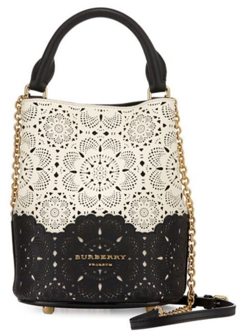 Burberry Black and White Laser-Cut Lace Bucket Bag