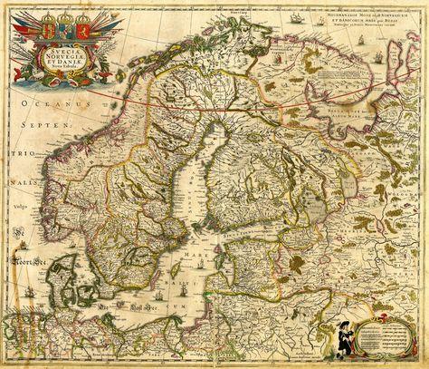 1600s Map Of Scandinavia Ancient Maps Map Antique Maps