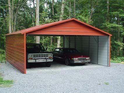 12 Ft X 20 Ft X 7 Ft White Roof Steel Carport Steel Roof Panels Steel Carports Metal Carports
