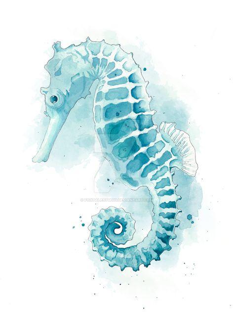 Seahorse by FoxTaleStudio on DeviantArt - Tiere Seahorse Painting, Seahorse Art, Seahorse Drawing, Seahorse Tattoo, Seahorses, Watercolor Fish, Watercolor Animals, Watercolor Paintings, Sea Life Art