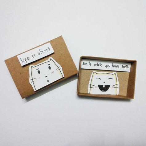Encouragement card Card Matchbox Gretting Card Gift box by JtranJ
