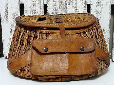 Vintage Fishing Creel - Wicker and Leather.