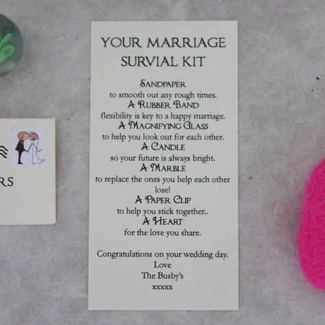 Personalised Marriage Survival Wedding Gift from notonthehighstreet.com