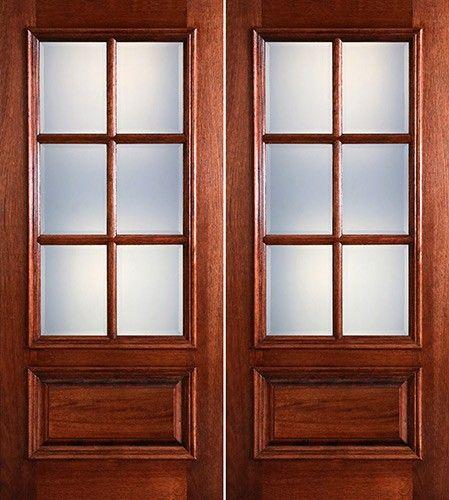 Preston 6 Lite Low E 1 Panel Raised Mahogany Prehung Wood Double Door Unit 1598 2 Wk Lt Mahogany Wood Doors Double Doors Wood Entry Doors