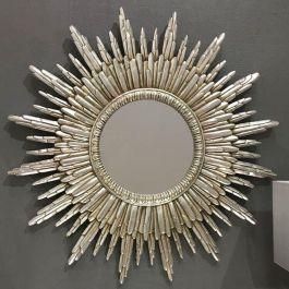 Round Silver Sunburst Wall Mirror 89 X 89cm In 2020 Sunburst Mirror Gold Sunburst Mirror Gold Mirror Wall