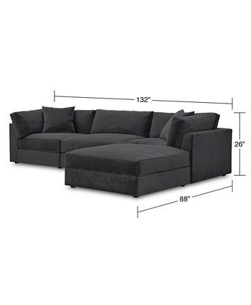 Furniture Aryanna 132 4 Pc Modular Sofa With Ottoman And 2 Toss