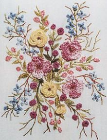 Brazilian Embroidery | Brazilian Dimensional Embroidery Design Spray of Flowers
