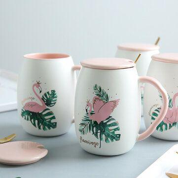 الإبداعية زوجين المياه القدح اعتصامات رخامية كأس السيراميك فلامنغو يونيكورن نمط فنجان القهوة Sugar Bowl Set Mugs Bowl Set