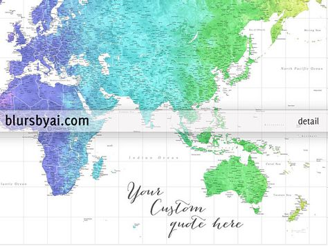 Highly Detailed World Map Print Personalized World Map Poster