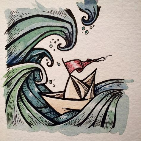 Paper and boats... Welcome to my life! #paperboat #art #illustration #boat #wave #surf #drawing #watercolour #boatlife #sailboat #clairewatson #tofinoartist | by Claire Watson