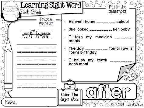 Sight Word First Grade Winter Activity | Lanfaloe Product | Pinterest