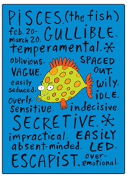 ep Pisces zodiac sign negative fridge magnet