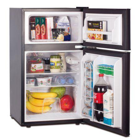 Rca 3 2 Cu Ft Two Door Mini Fridge With Freezer Rfr832 Black Image 2 Of 7 Mini Fridge In Bedroom Mini Fridge With Freezer Two Door Refrigerator