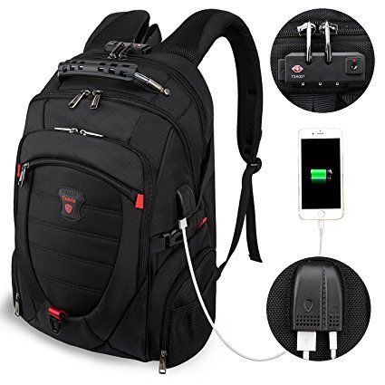 17inch Laptop Backpack,Large Luggage Backpack with USB Charging Port for Women and Men,TSA Friendly Business Travel Laptops Backpack,Anti-Theft Computer Backpacks Big College School Bookbag Grey