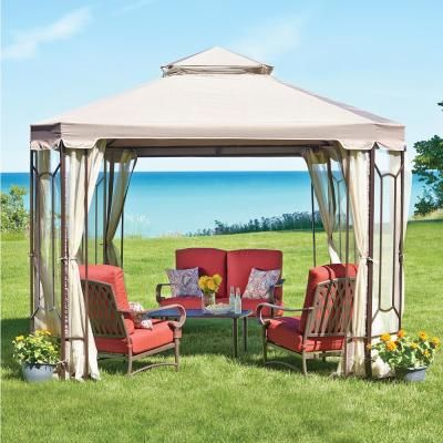 Sunjoy Archwood 12 Ft X 10 Ft Cedar Frame Gazebo With Double Tier Steel Roof Hardtop A102007500 In 2020 Gazebo Backyard Gazebo Outdoor Patio