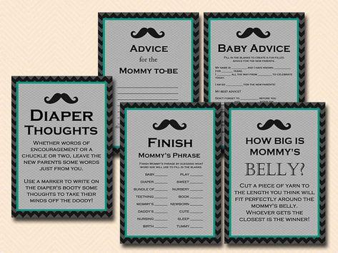 Baby blue mustache baby shower Games Printables, little gentleman baby shower game pack, Little man Baby Shower