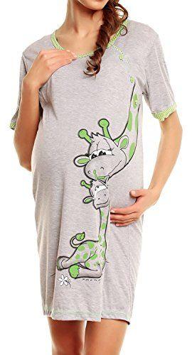 Happy Mama 366p Stillshirt Kurzarm Damen Umstands-Nachthemd mit Stillfunktion