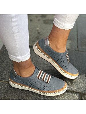 Hollow Out Plain Flat Round Toe Casual Travel Flat & Loafers