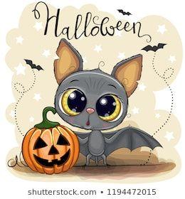 Greeting Halloween Card Cute Cartoon Bat With Pumpkin Ukrasheniya