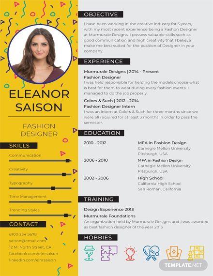 Free Best Fashion Designer Resume Fashion Designer Resume