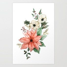 Christmas Poinsettia And Holly Foliage Watercolor Art Print Birth Flower Tattoos Watercolor Tattoo Flower Narcissus Tattoo