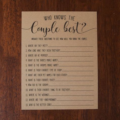 Who Knows The Couple Best ? Bridal Shower Games. Bridal Shower Game. Rustic Bridal Shower Games. New